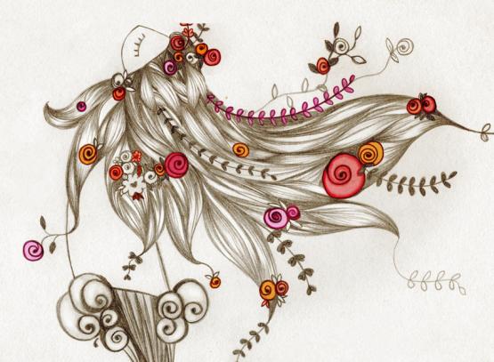 Ilustración de grafito y tratamiento digital de color, de labruja